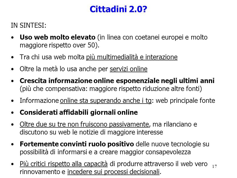 17 Cittadini 2.0? IN SINTESI: Uso web molto elevato (in linea con coetanei europei e molto maggiore rispetto over 50). Tra chi usa web molta più multi