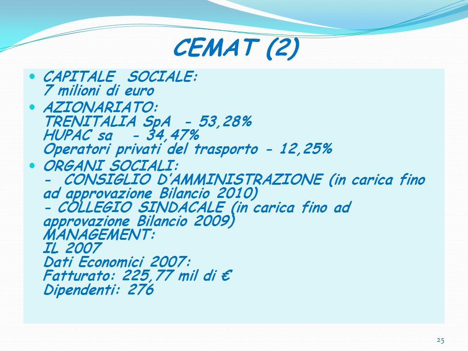 CEMAT (2) CAPITALE SOCIALE: 7 milioni di euro AZIONARIATO: TRENITALIA SpA - 53,28% HUPAC sa - 34,47% Operatori privati del trasporto - 12,25% ORGANI S