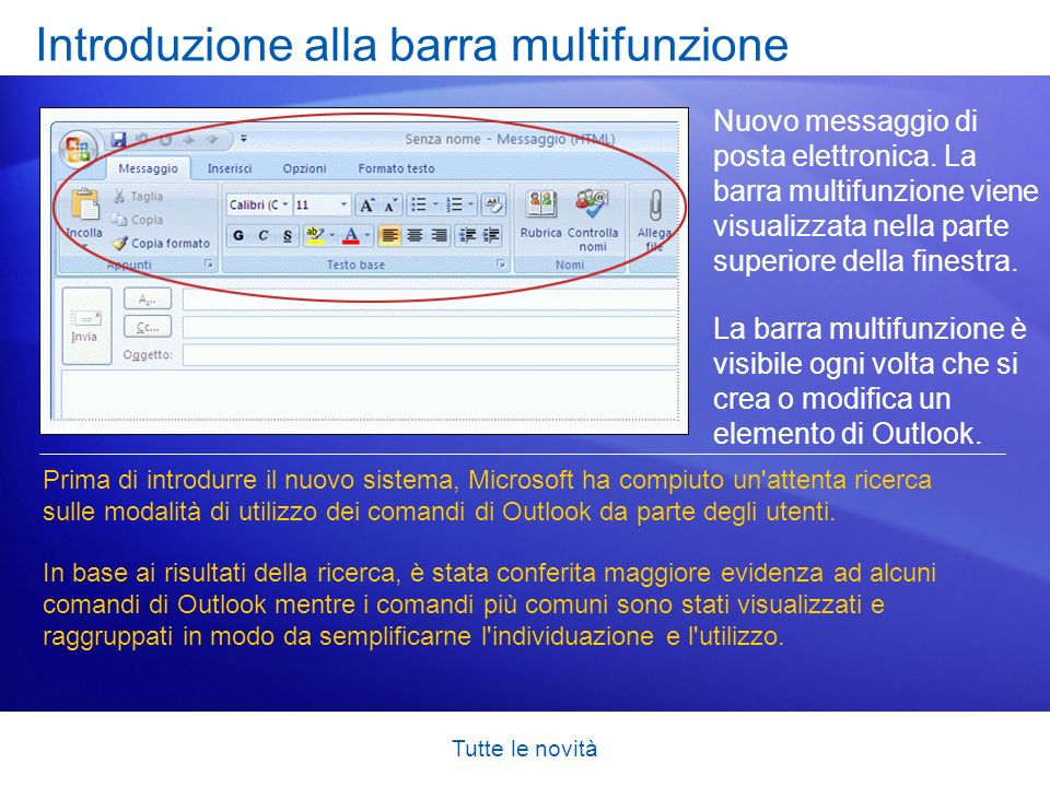 Tutte le novità Visualizzare in anteprima gli allegati prima di aprirli La ricezione degli allegati in Outlook 2007 avviene esattamente come nelle versioni precedenti.
