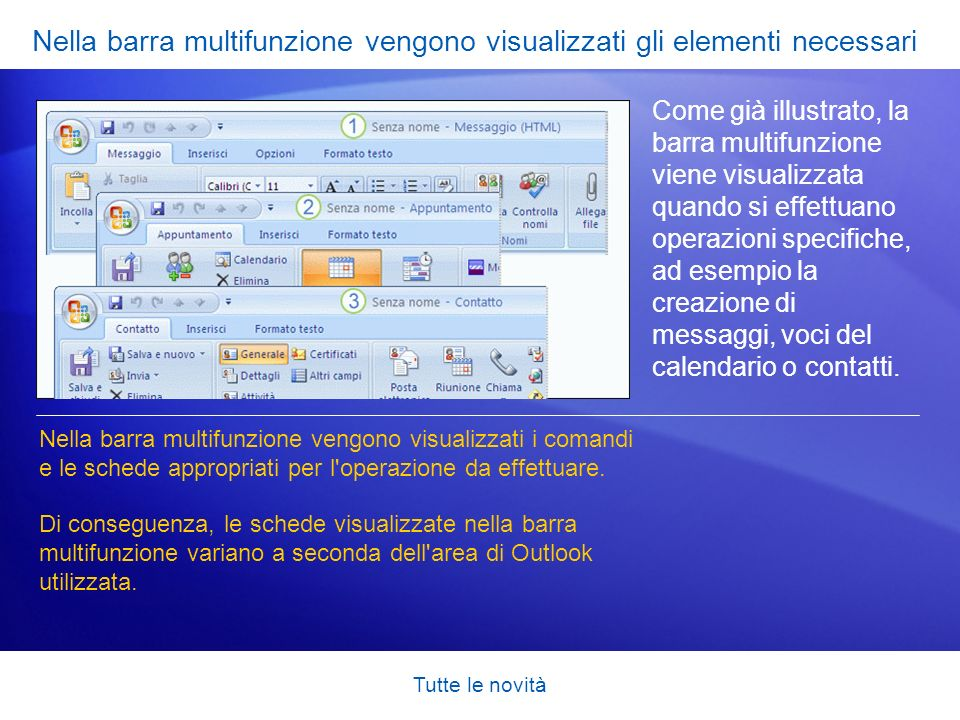 Tutte le novità Modalità di ricezione degli allegati inviati Quando si utilizza Outlook 2007, i destinatari ricevono i file allegati esattamente come nelle versioni precedenti.