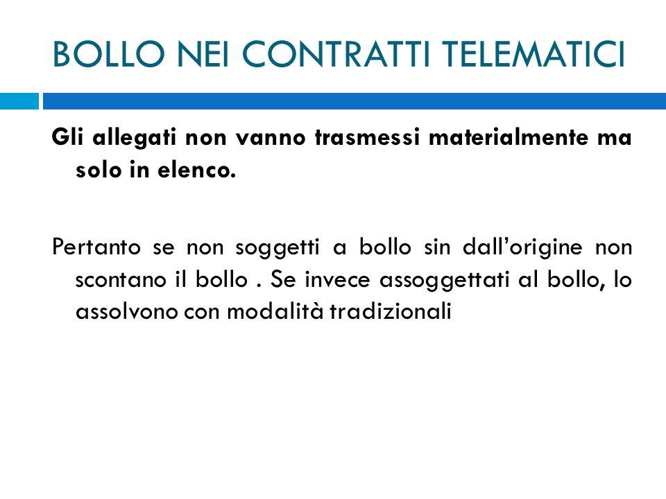 BOLLO NEI CONTRATTI TELEMATICI Gli allegati non vanno trasmessi materialmente ma solo in elenco.