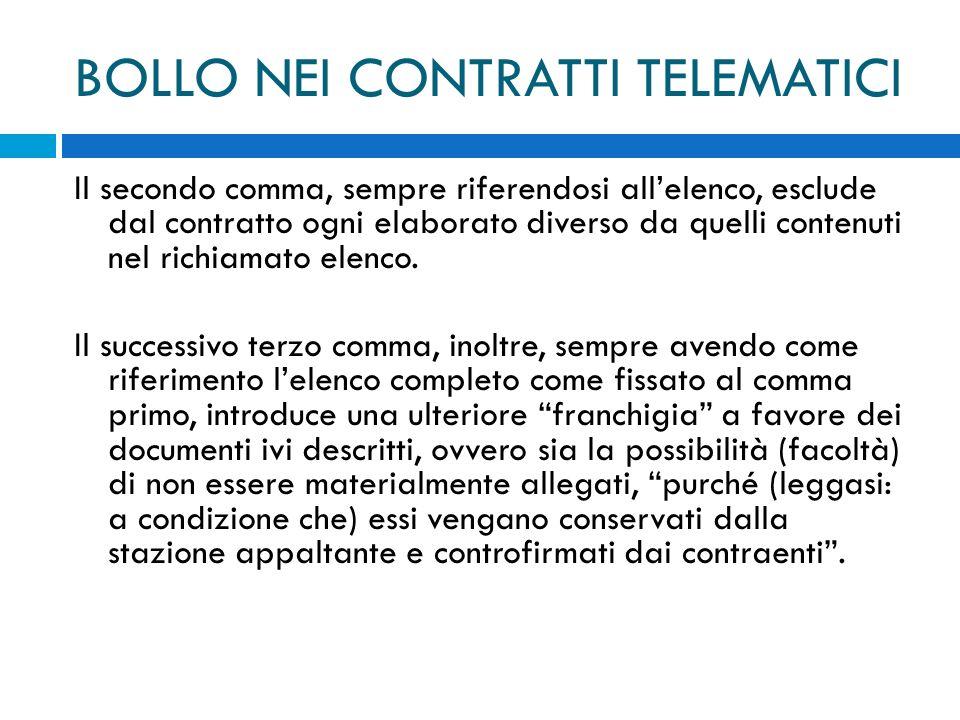 BOLLO NEI CONTRATTI TELEMATICI Il secondo comma, sempre riferendosi allelenco, esclude dal contratto ogni elaborato diverso da quelli contenuti nel richiamato elenco.