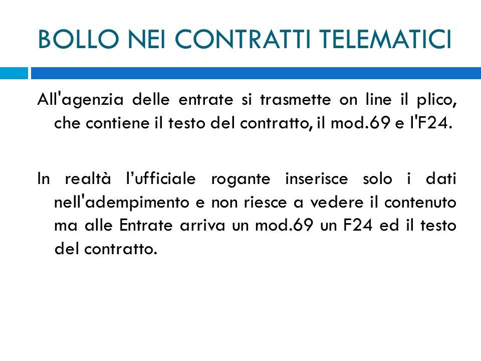 BOLLO NEI CONTRATTI TELEMATICI All'agenzia delle entrate si trasmette on line il plico, che contiene il testo del contratto, il mod.69 e l'F24. In rea