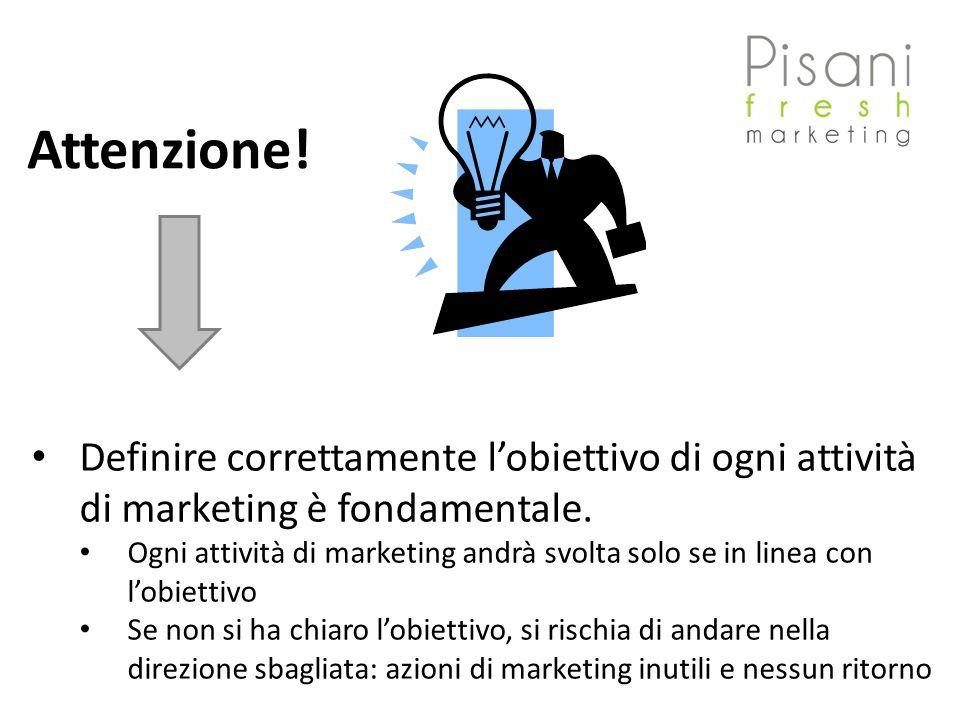Attenzione! Definire correttamente lobiettivo di ogni attività di marketing è fondamentale. Ogni attività di marketing andrà svolta solo se in linea c