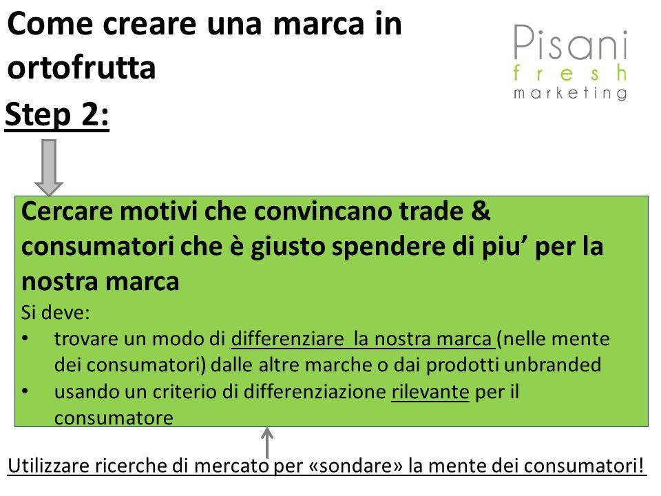 Step 2: Cercare motivi che convincano trade & consumatori che è giusto spendere di piu per la nostra marca Si deve: trovare un modo di differenziare l