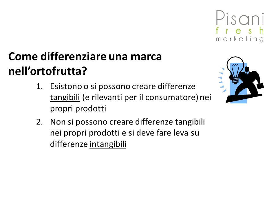 Come differenziare una marca nellortofrutta? 1.Esistono o si possono creare differenze tangibili (e rilevanti per il consumatore) nei propri prodotti