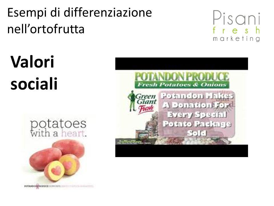 Valori sociali Esempi di differenziazione nellortofrutta
