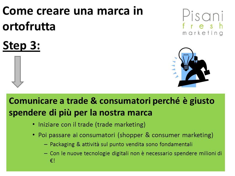 Comunicare a trade & consumatori perché è giusto spendere di più per la nostra marca Iniziare con il trade (trade marketing) Poi passare ai consumator