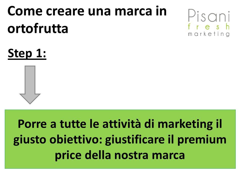 Step 1: Porre a tutte le attività di marketing il giusto obiettivo: giustificare il premium price della nostra marca Come creare una marca in ortofrutta