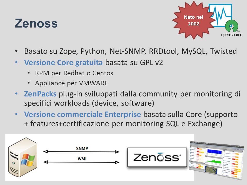 Zenoss Basato su Zope, Python, Net-SNMP, RRDtool, MySQL, Twisted Versione Core gratuita basata su GPL v2 RPM per Redhat o Centos Appliance per VMWARE