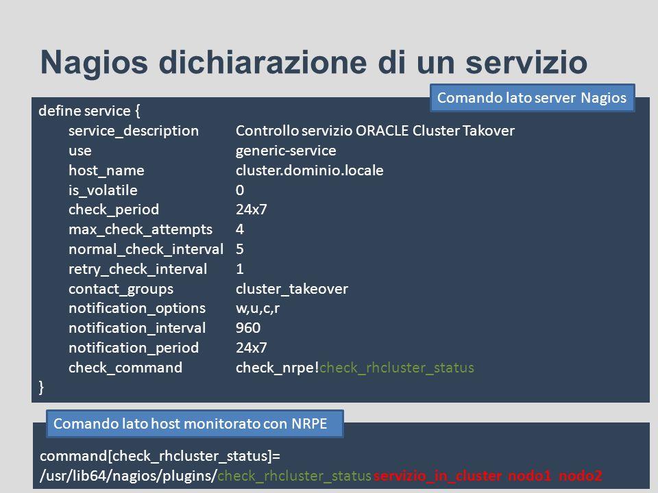 Nagios dichiarazione di un servizio define service { service_descriptionControllo servizio ORACLE Cluster Takover usegeneric-service host_namecluster.