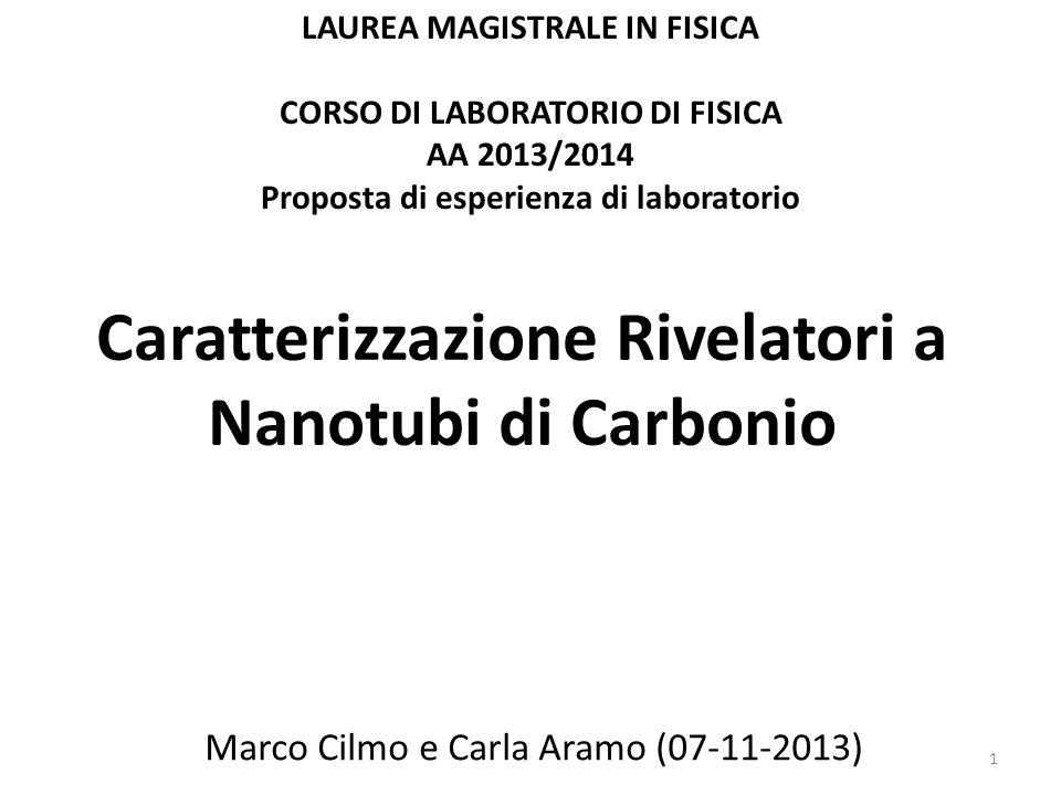 Caratterizzazione Rivelatori a Nanotubi di Carbonio Marco Cilmo e Carla Aramo (07-11-2013) LAUREA MAGISTRALE IN FISICA CORSO DI LABORATORIO DI FISICA AA 2013/2014 Proposta di esperienza di laboratorio 1