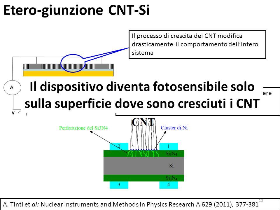 Etero-giunzione CNT-Si Il processo di crescita dei CNT modifica drasticamente il comportamento dellintero sistema Il meccanismo di creazione della giunzione può essere attribuito alla morfologia unidimensionale dei CNT (Creazione di canali di conduzione) A.