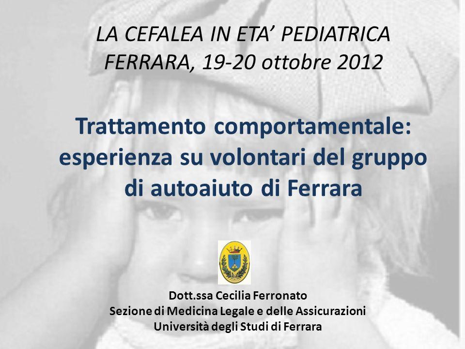 Cefalea: trattamenti non farmacologici Nicholson et al. Current Treatment Options in Neurology 2011