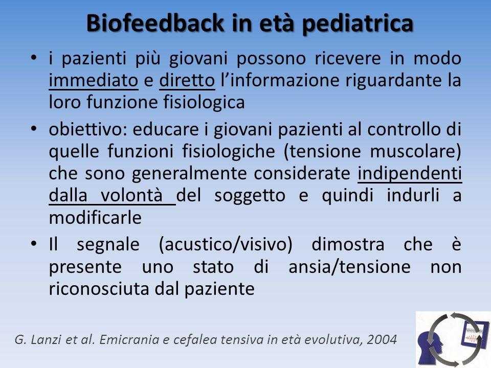 Biofeedback in età pediatrica BFB indicato nei bambini in cui il dolore è causato o peggiorato da modificazioni fisiologiche associate a stati di tensione/stress In età pediatrico-giovanile il BFB è stato utilizzato nel trattamento delle cefalee (forme tensive ed emicraniche) Maggiormente utilizzato EMG-BFB con elettrodi a livello del muscolo frontale Controindicazioni: aspettattive nei confronti del risultato G.