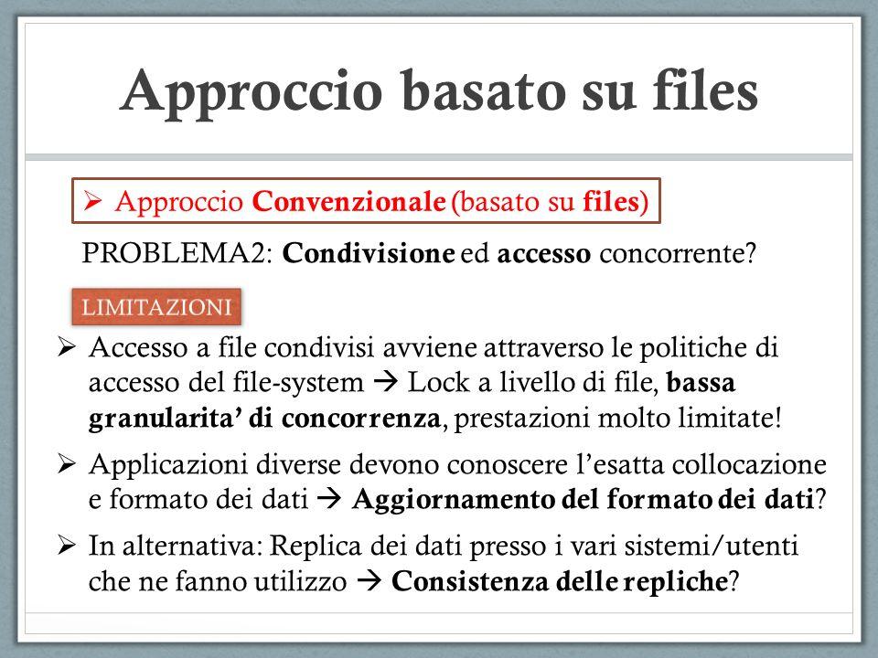 Approccio basato su files Approccio Convenzionale (basato su files ) Accesso a file condivisi avviene attraverso le politiche di accesso del file-syst