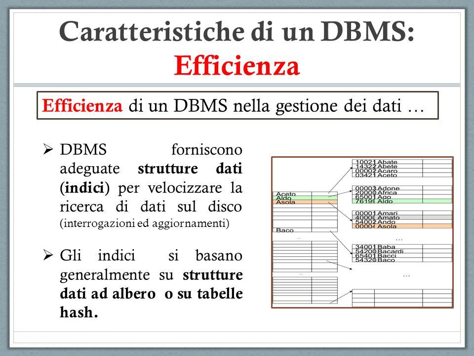 Caratteristiche di un DBMS: Efficienza Efficienza di un DBMS nella gestione dei dati … DBMS forniscono adeguate strutture dati ( indici ) per velocizz