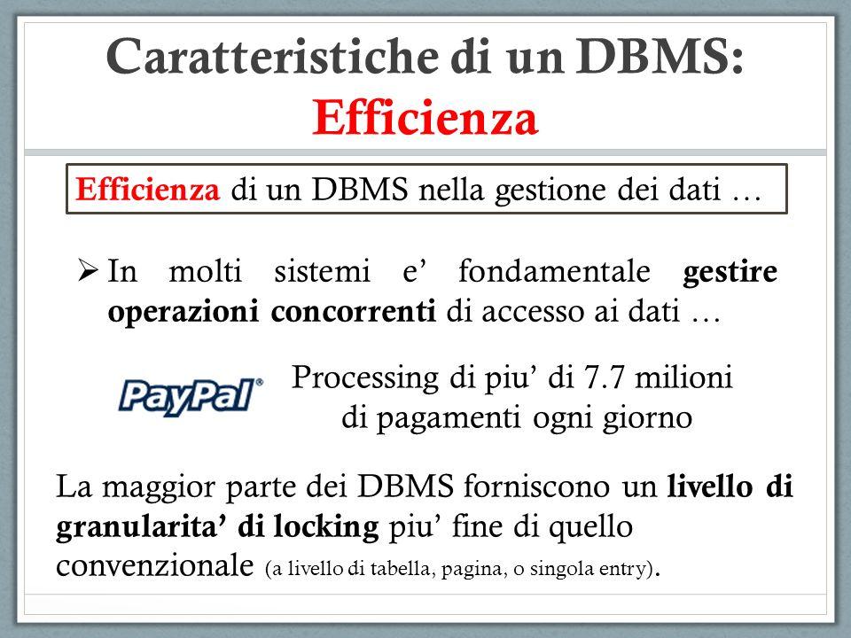 Efficienza di un DBMS nella gestione dei dati … In molti sistemi e fondamentale gestire operazioni concorrenti di accesso ai dati … Processing di piu