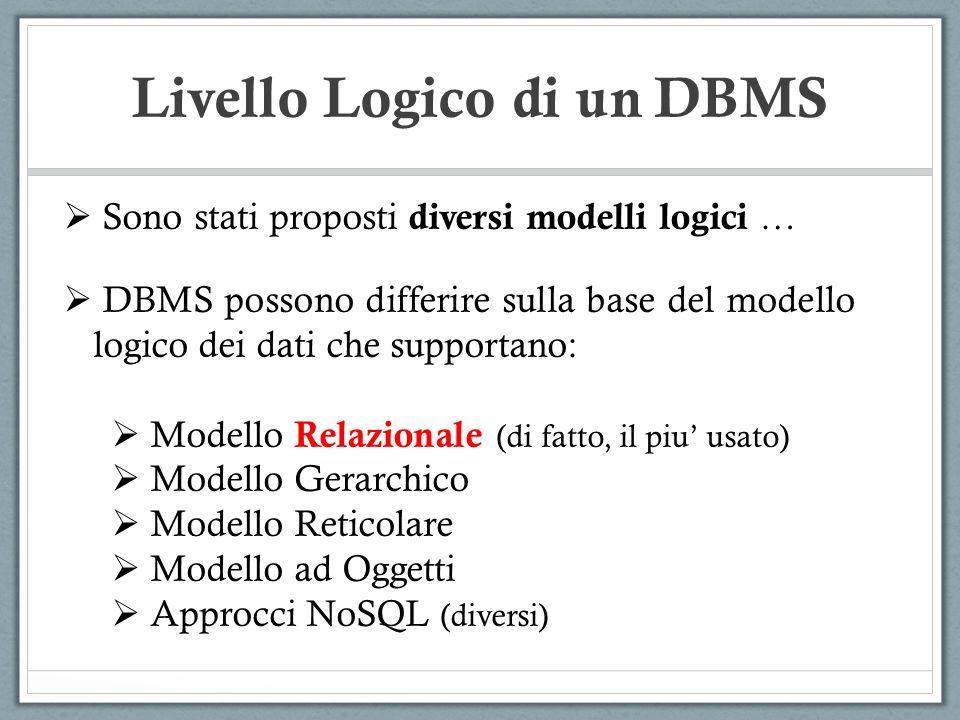 Sono stati proposti diversi modelli logici … DBMS possono differire sulla base del modello logico dei dati che supportano: Modello Relazionale (di fat