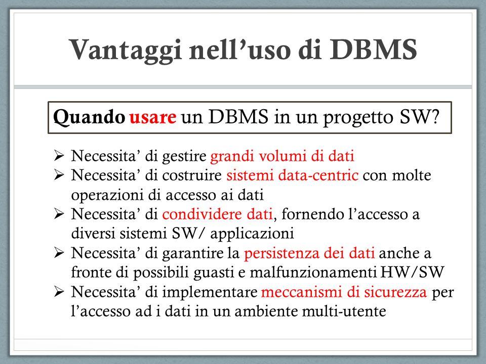 Quando usare un DBMS in un progetto SW? Necessita di gestire grandi volumi di dati Necessita di costruire sistemi data-centric con molte operazioni di