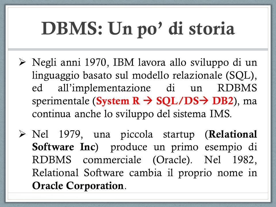 Negli anni 1970, IBM lavora allo sviluppo di un linguaggio basato sul modello relazionale (SQL), ed allimplementazione di un RDBMS sperimentale ( Syst