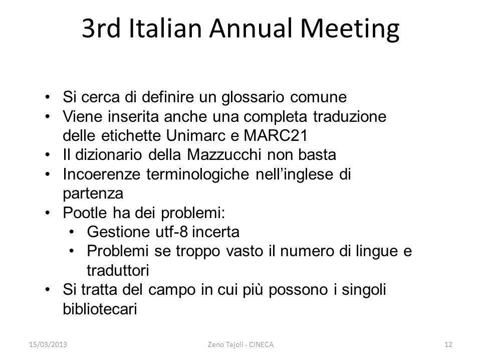 15/03/2013Zeno Tajoli - CINECA12 3rd Italian Annual Meeting Si cerca di definire un glossario comune Viene inserita anche una completa traduzione dell