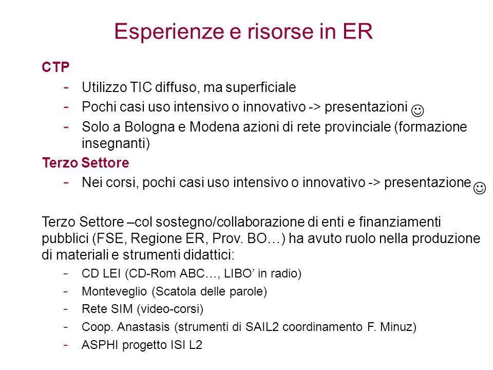 Esperienze e risorse in ER CTP - Utilizzo TIC diffuso, ma superficiale - Pochi casi uso intensivo o innovativo -> presentazioni - Solo a Bologna e Mod