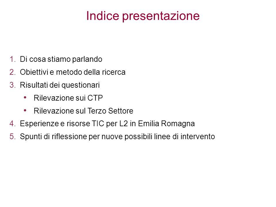 Indice presentazione 1.Di cosa stiamo parlando 2.Obiettivi e metodo della ricerca 3.Risultati dei questionari Rilevazione sui CTP Rilevazione sul Terz