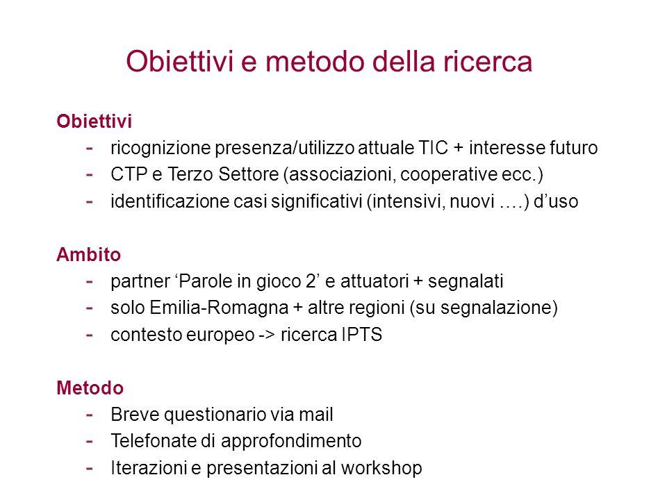 Obiettivi e metodo della ricerca Obiettivi - ricognizione presenza/utilizzo attuale TIC + interesse futuro - CTP e Terzo Settore (associazioni, cooper