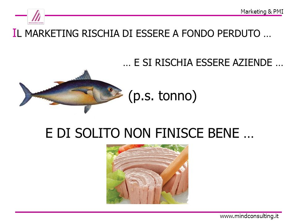 Marketing & PMI www.mindconsulting.it I L MARKETING RISCHIA DI ESSERE A FONDO PERDUTO … E DI SOLITO NON FINISCE BENE … (p.s.