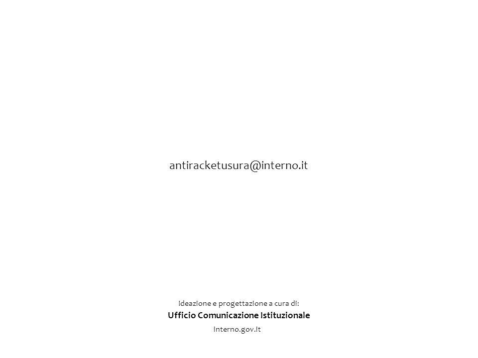 Ideazione e progettazione a cura di: Ufficio Comunicazione Istituzionale interno.gov.it antiracketusura@interno.it