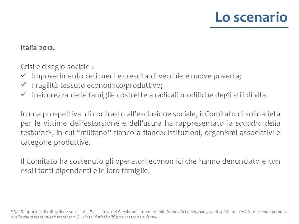 Italia 2012. Crisi e disagio sociale : Impoverimento ceti medi e crescita di vecchie e nuove povertà; Fragilità tessuto economico/produttivo; Insicure
