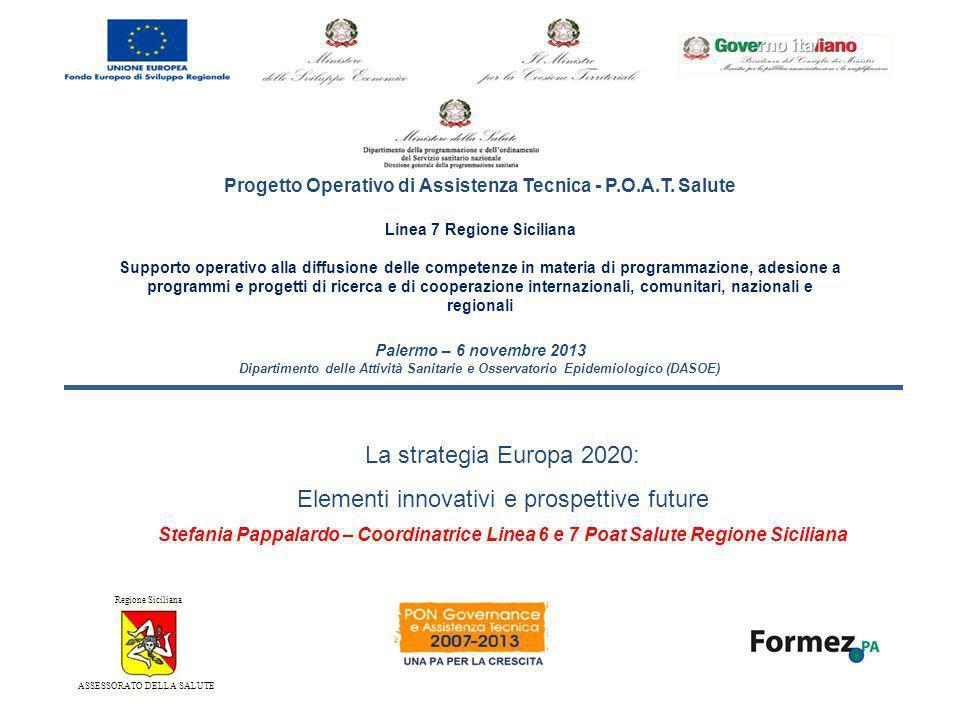 Strategia Europa 2020 La Strategia Europa 2020, è una strategia sovrafondo, le cui priorità sono: 1sviluppare uneconomia basata sulla conoscenza e sullinnovazione (crescita intelligente); 2promuovere uneconomia più efficiente sotto il profilo delle risorse, più verde, più competitiva (crescita sostenibile); 3promuovere uneconomia con un alto tasso di occupazione che favorisca la coesione sociale e territoriale (crescita inclusiva)