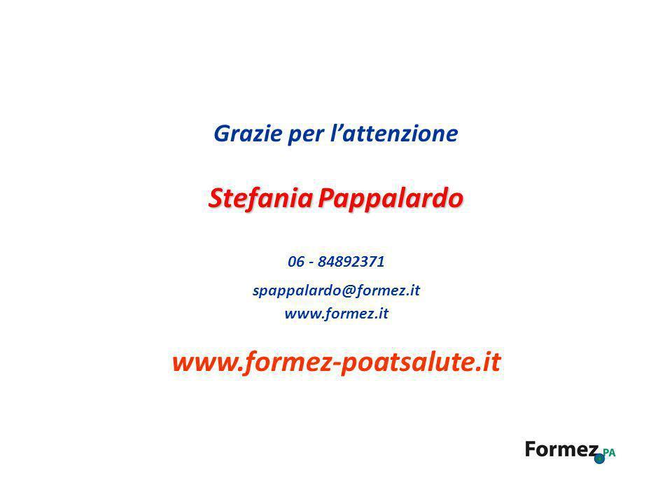 Grazie per lattenzione Stefania Pappalardo 06 - 84892371 spappalardo@formez.it www.formez.it www.formez-poatsalute.it