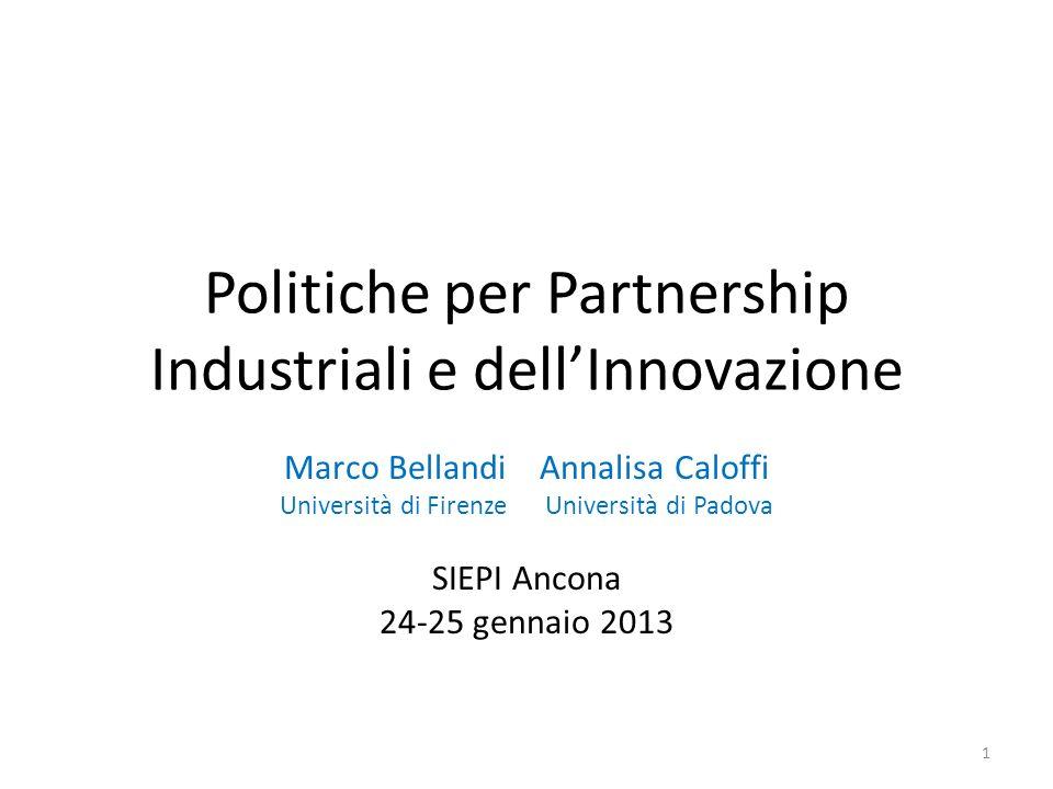Politiche per Partnership Industriali e dellInnovazione Marco Bellandi Annalisa Caloffi Università di Firenze Università di Padova SIEPI Ancona 24-25