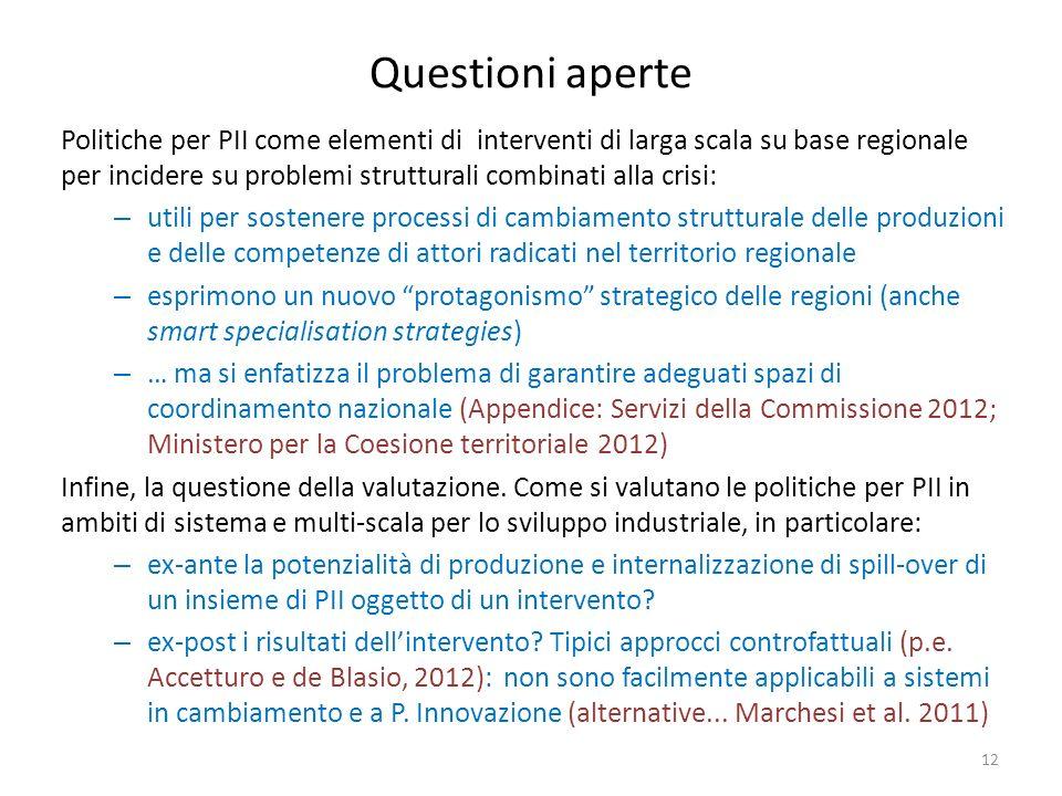 Questioni aperte Politiche per PII come elementi di interventi di larga scala su base regionale per incidere su problemi strutturali combinati alla cr