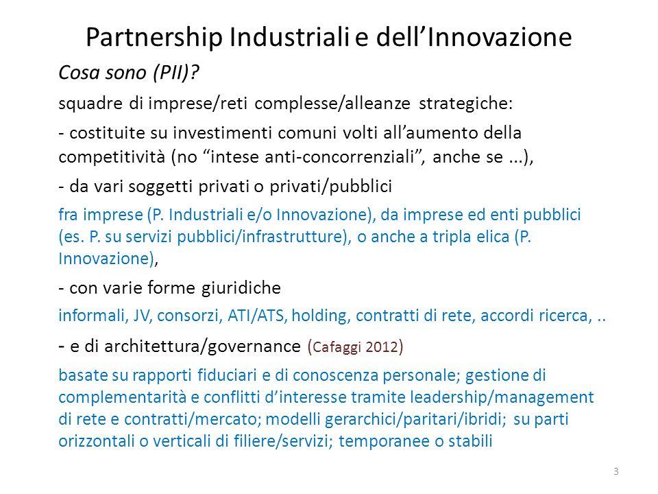 Partnership Industriali e dellInnovazione 3 Cosa sono (PII)? squadre di imprese/reti complesse/alleanze strategiche: - costituite su investimenti comu