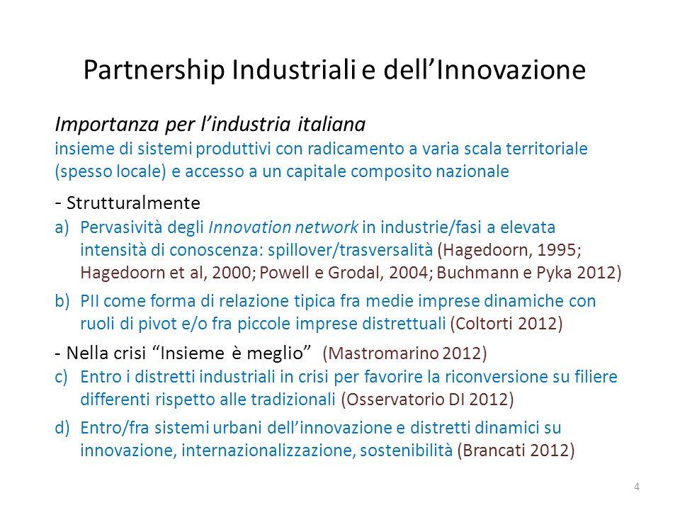 Partnership Industriali e dellInnovazione 4 Importanza per lindustria italiana insieme di sistemi produttivi con radicamento a varia scala territorial