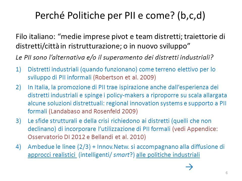 Perché Politiche per PII e come? (b,c,d) Filo italiano: medie imprese pivot e team distretti; traiettorie di distretti/città in ristrutturazione; o in