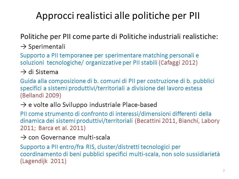 Approcci realistici alle politiche per PII Politiche per PII come parte di Politiche industriali realistiche: Sperimentali Supporto a PII temporanee p