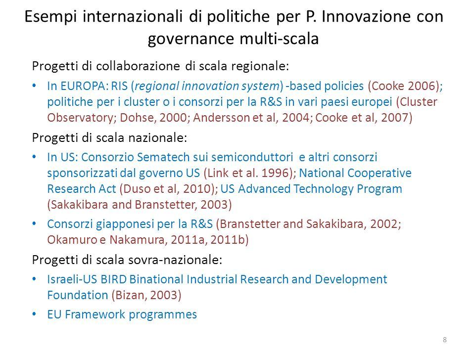 Esempi internazionali di politiche per P. Innovazione con governance multi-scala Progetti di collaborazione di scala regionale: In EUROPA: RIS (region