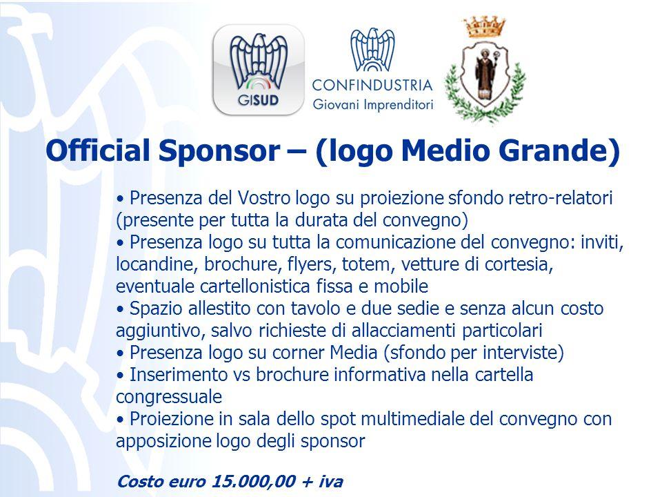 Presenza del Vostro logo su proiezione sfondo retro-relatori (presente per tutta la durata del convegno) Presenza logo su tutta la comunicazione del c