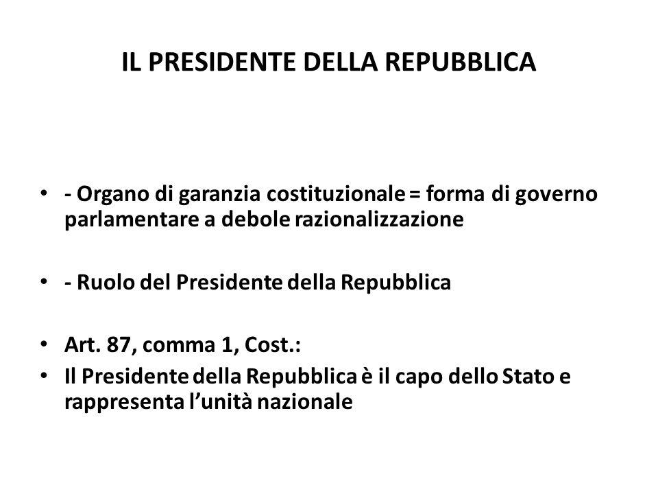 IL PRESIDENTE DELLA REPUBBLICA - Organo di garanzia costituzionale = forma di governo parlamentare a debole razionalizzazione - Ruolo del Presidente d