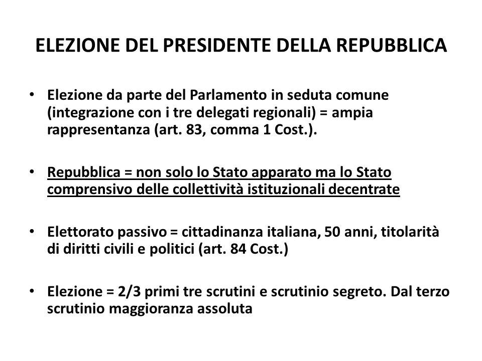 ELEZIONE DEL PRESIDENTE DELLA REPUBBLICA Elezione da parte del Parlamento in seduta comune (integrazione con i tre delegati regionali) = ampia rappres