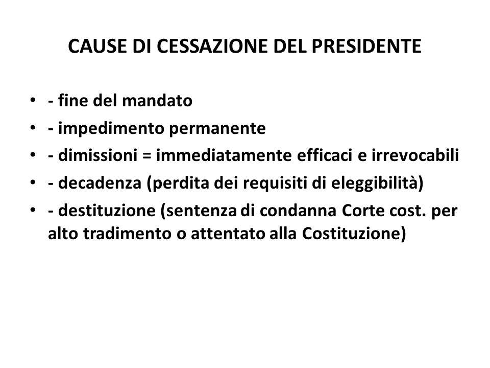 CAUSE DI CESSAZIONE DEL PRESIDENTE - fine del mandato - impedimento permanente - dimissioni = immediatamente efficaci e irrevocabili - decadenza (perd