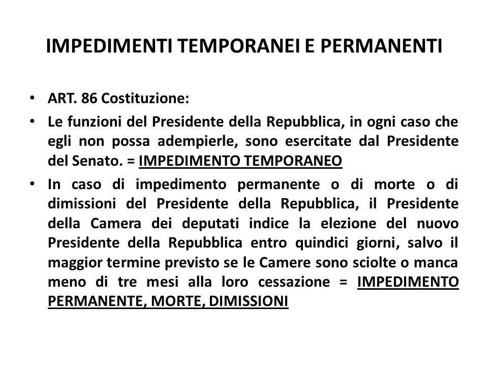 IMPEDIMENTI TEMPORANEI E PERMANENTI ART. 86 Costituzione: Le funzioni del Presidente della Repubblica, in ogni caso che egli non possa adempierle, son