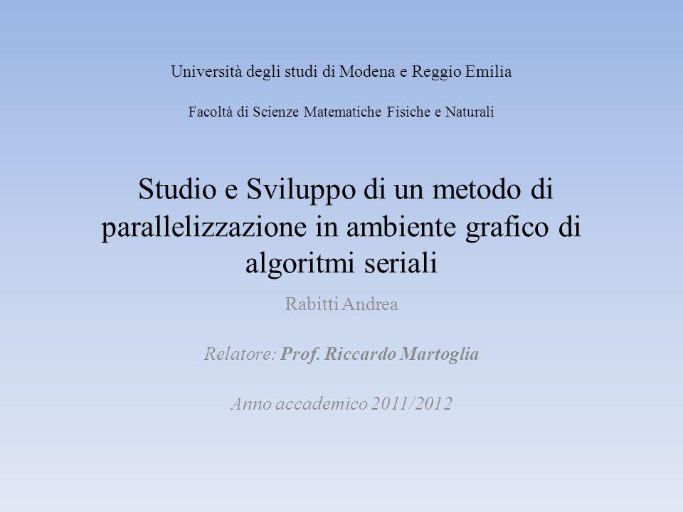Studio e Sviluppo di un metodo di parallelizzazione in ambiente grafico di algoritmi seriali Rabitti Andrea Relatore: Prof. Riccardo Martoglia Anno ac
