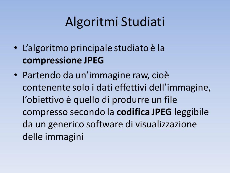 Algoritmi Studiati Lalgoritmo principale studiato è la compressione JPEG Partendo da unimmagine raw, cioè contenente solo i dati effettivi dellimmagin