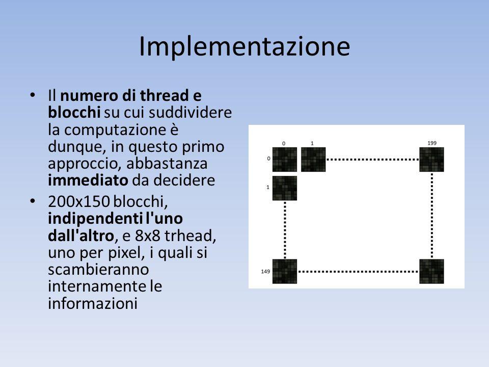 Implementazione Il numero di thread e blocchi su cui suddividere la computazione è dunque, in questo primo approccio, abbastanza immediato da decidere