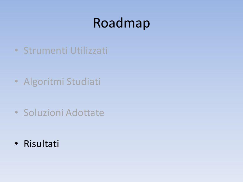 Roadmap Strumenti Utilizzati Algoritmi Studiati Soluzioni Adottate Risultati